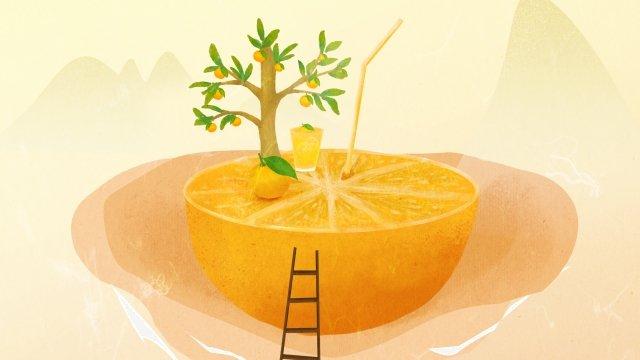 オレンジフルーツグリーン夏 イラスト素材 イラスト画像