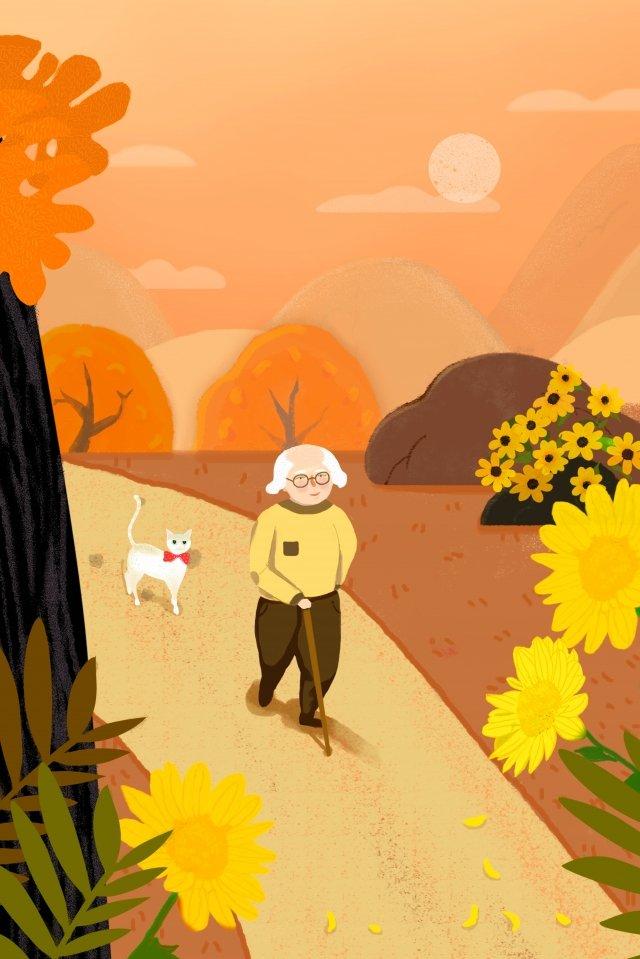 古い猫を尊重するオレンジ色の老人 イラストレーション画像