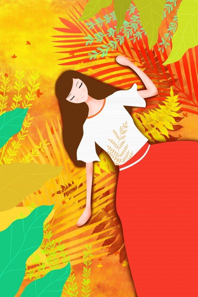 orange yellow fall girl llustration image illustration image