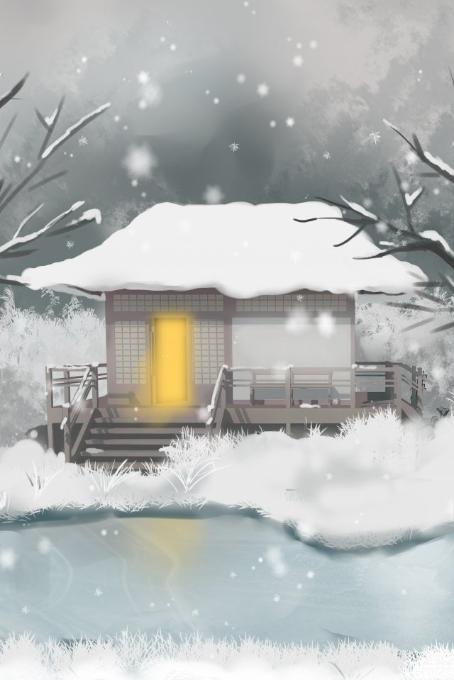 osamu festival solar terms 24 solar terms, Cold Winter, Snowing, Heavy Snow illustration image