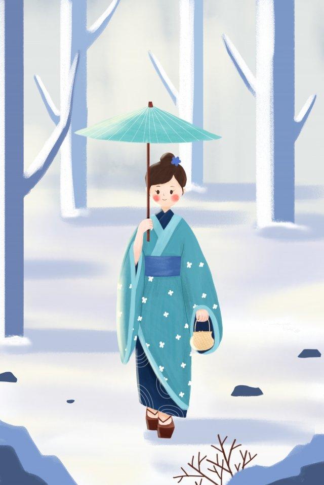 오 사무 기모노 겨울 설경 삽화 소재