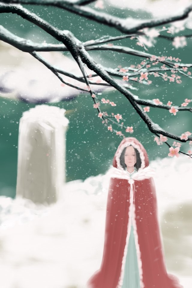 osamu light snow heavy snow snowing, Winter Solstice, Winter, Plum Blossom illustration image