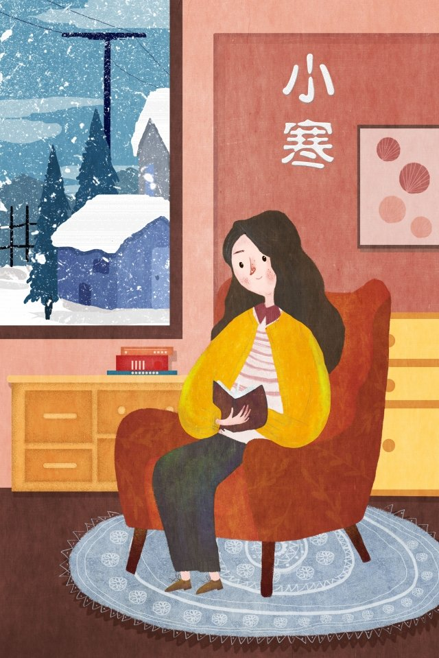 osamu reading warm winter illustration image