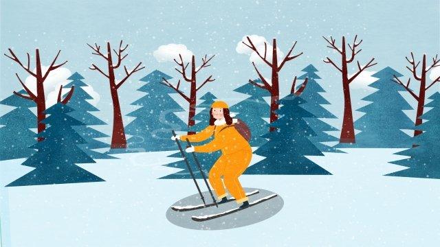 osamu ski girl forest llustration image illustration image