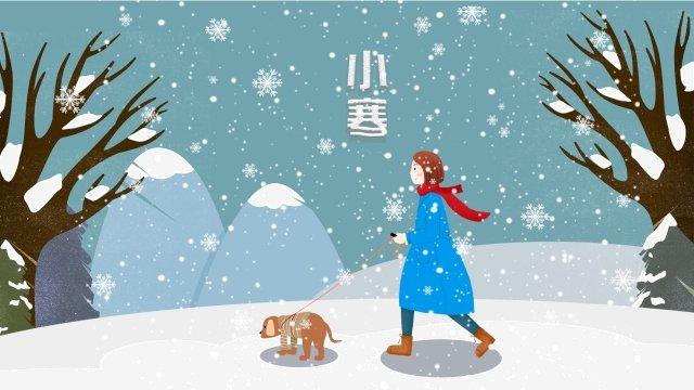 犬の森氷と雪の散歩 イラスト素材