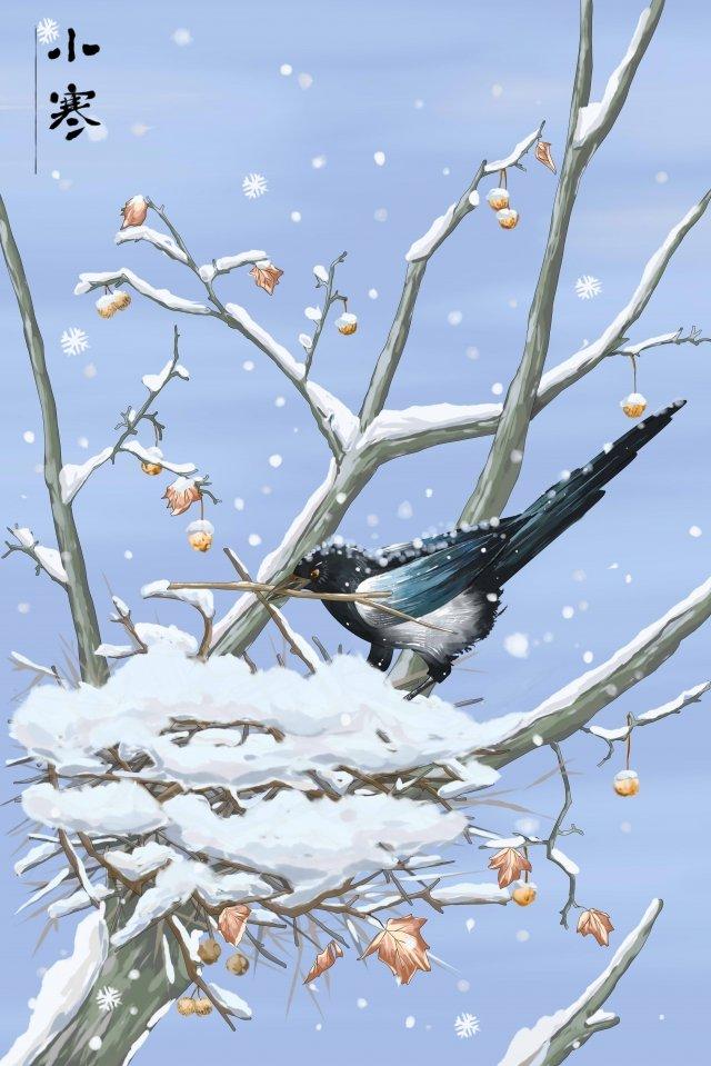 osamu winter landscape hand painted magpie nesting llustration image