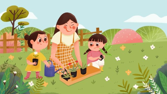 आउटडोर अभिभावक बच्चे रोपण फूल माता पिता शिक्षा चित्रण छवि