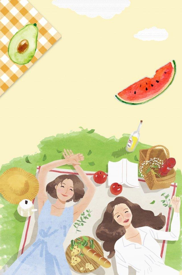 屋外のピクニックの新鮮なガールフレンド イラスト素材 イラスト画像