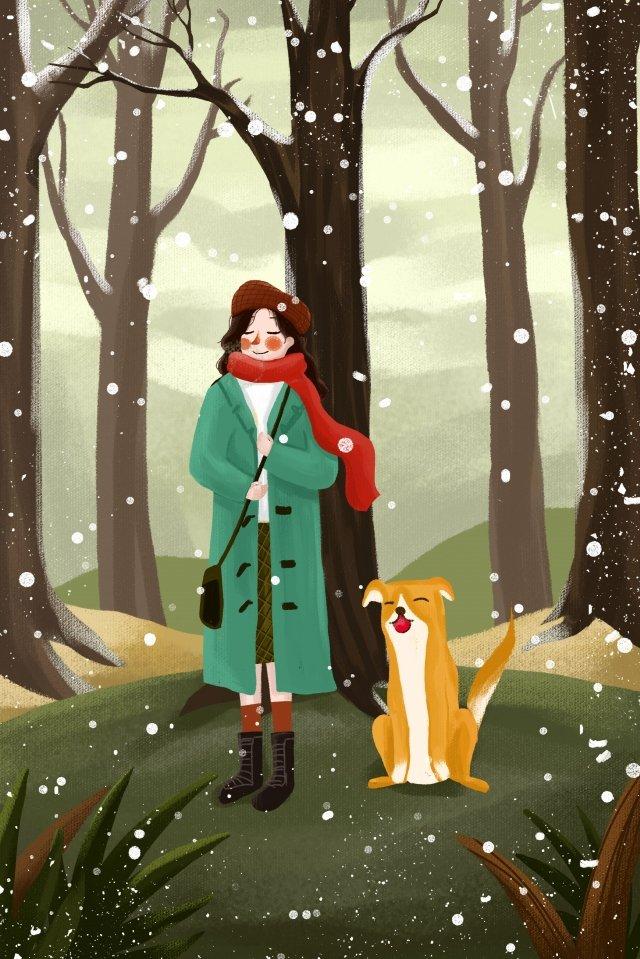 야외 snowing dog 눈 감사 삽화 소재