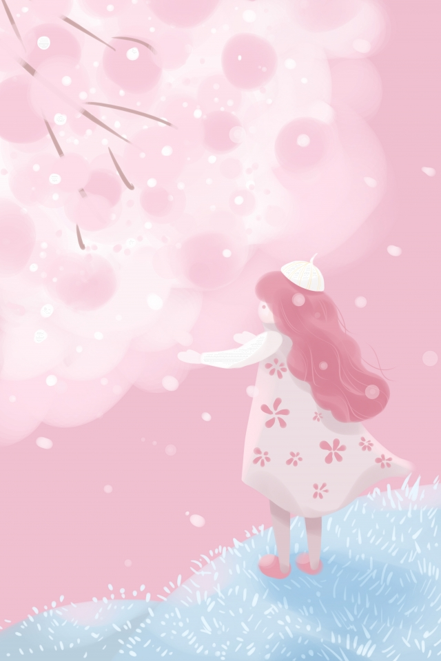 outdoor step on vitality up, Cherry Blossoms, Teenage Girl, Wind illustration image