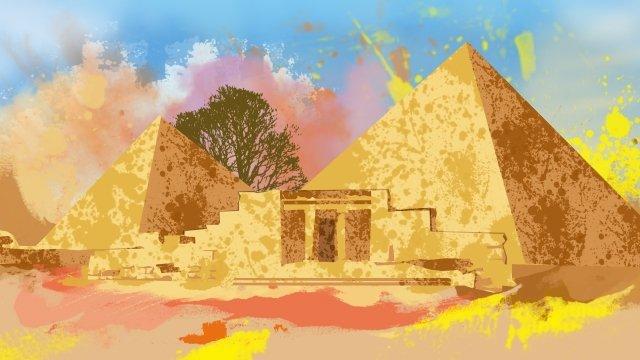 絵画水彩画エジプトピラミッド イラストレーション画像