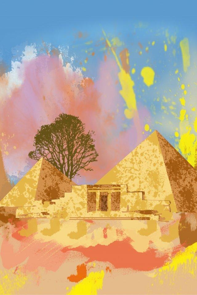 絵画水彩画エジプトピラミッド イラスト画像