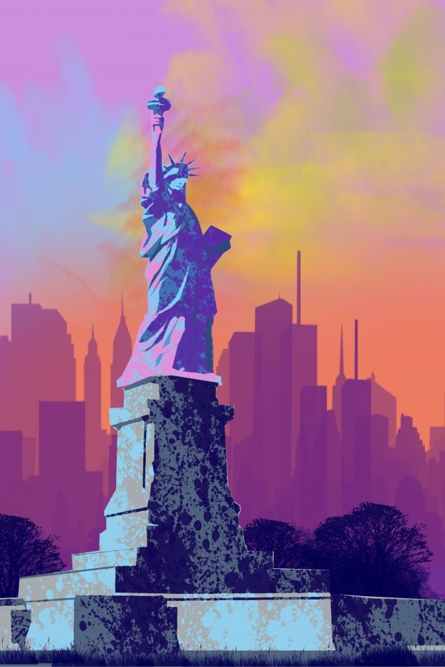 painting watercolor new york statue of liberty, Landmark, Building, Attractions illustration image