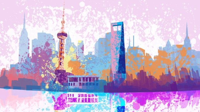 painting watercolor shanghai pearl of the orient llustration image illustration image