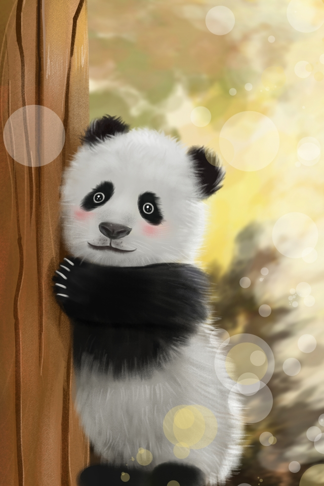 panda animal realistic hand painted, Cure, Hand-painted, Vertical illustration image