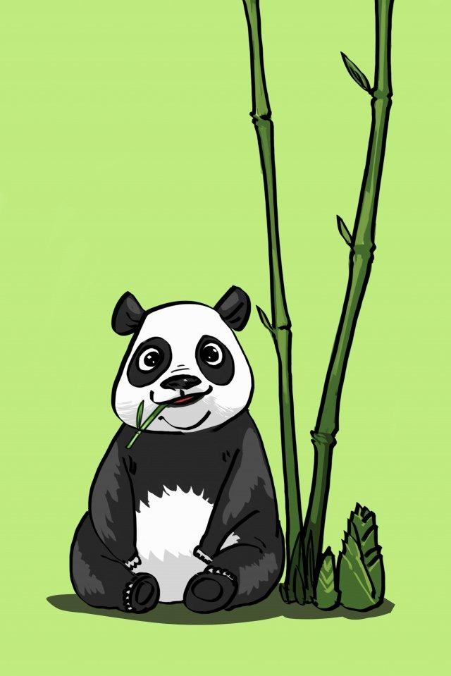 panda bambu animal adorável Material de ilustração