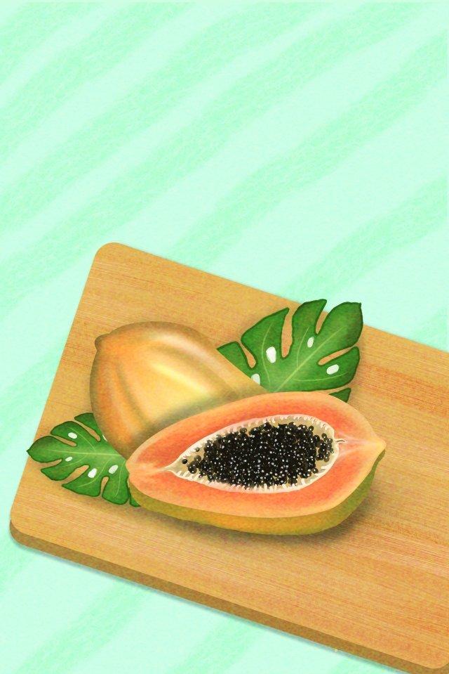 papaya fruit food yellow fruit, Gourmet Hand, Fruit Illustration, Illustration illustration image