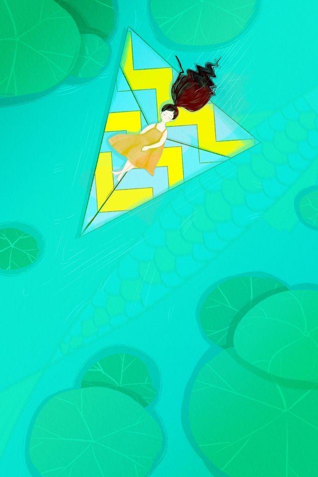 paper plane hand painted lotus pond lotus leaf llustration image