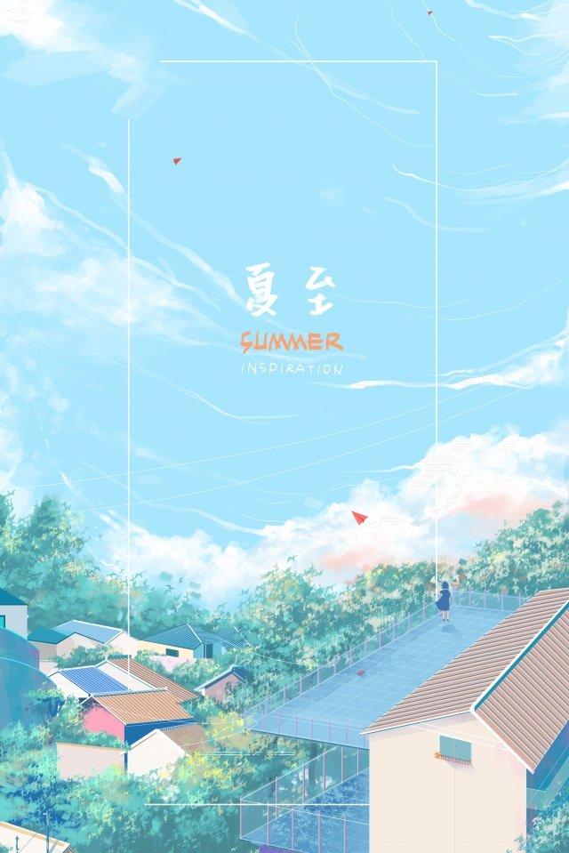 paper plane tile house rooftop poster llustration image