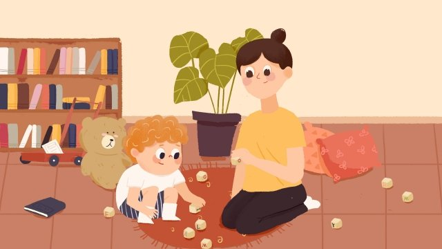 माता पिता के इनडोर खेल बचपन की शिक्षा चित्रण छवि चित्रण छवि