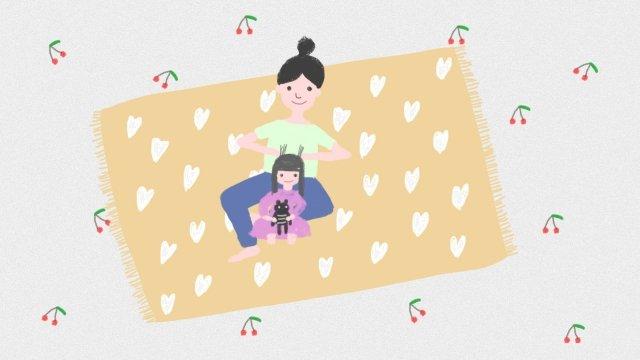 親子媽媽媽媽的孩子 插畫素材 插畫圖片