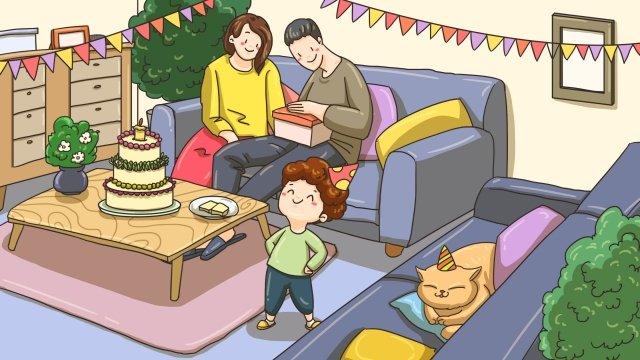 parents parent child birthday celebrate llustration image
