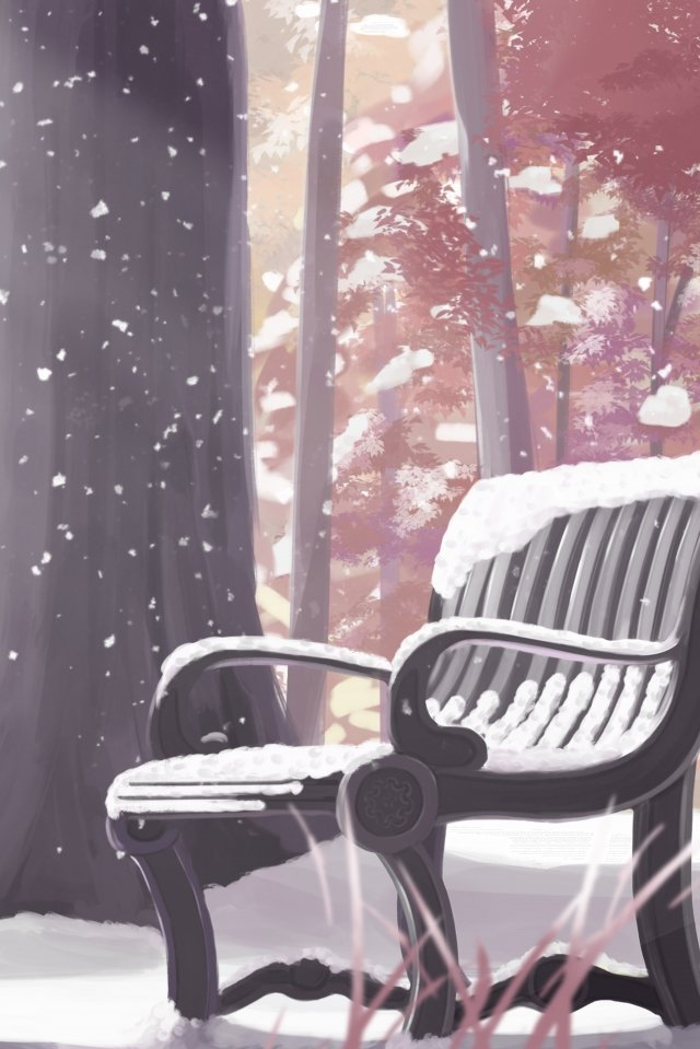 park bench chair snowing light snow, Heavy Snow, Winter Solstice, Frost Drop illustration image