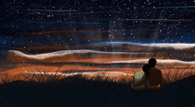 peak starry sky midsummer night couple, Grassland, Dream, Romantic illustration image