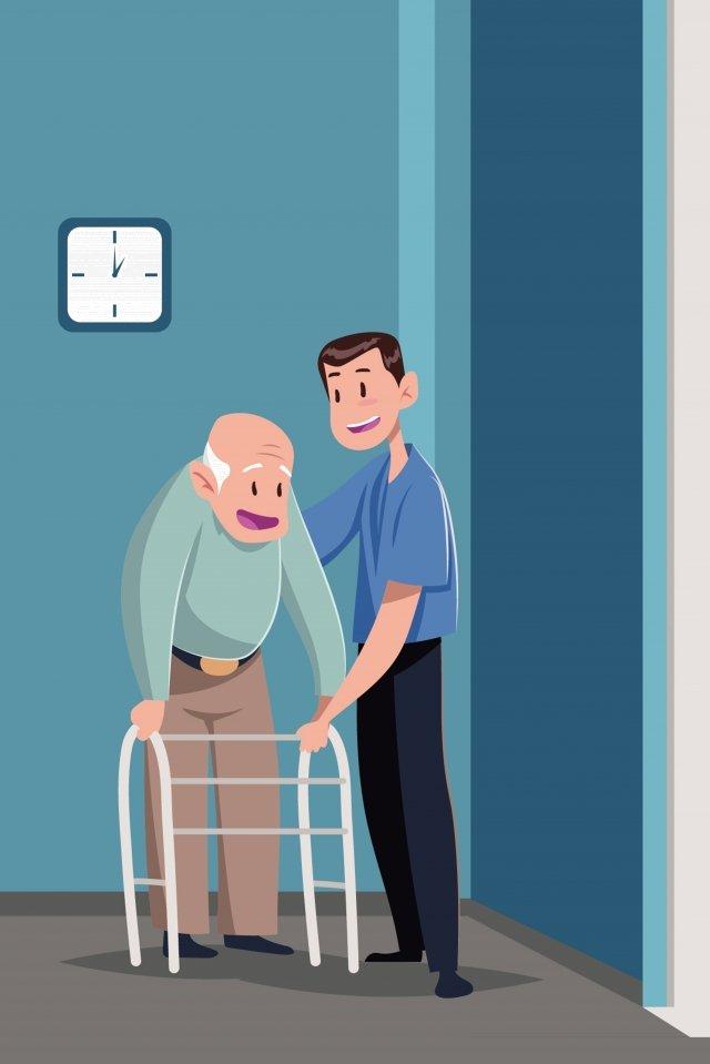 पेंशन बूढ़े आदमी चोंगयांग की देखभाल करते हैं चित्रण छवि चित्रण छवि