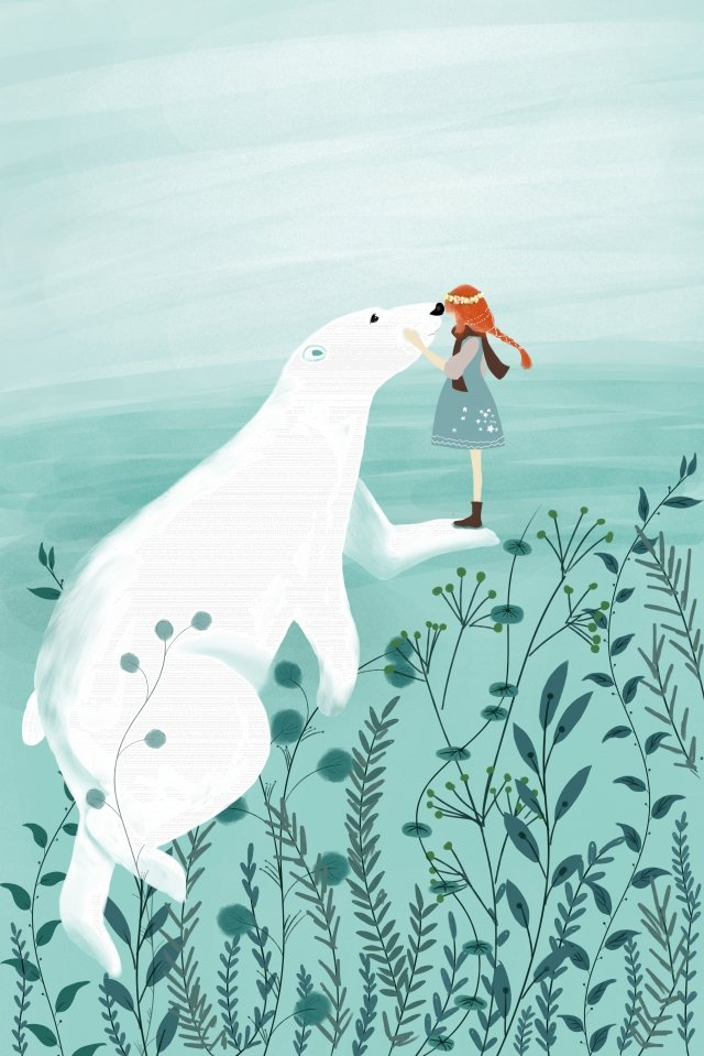 people and animals girl polar bear healing, Literary, Retro Texture, Cartoon illustration image