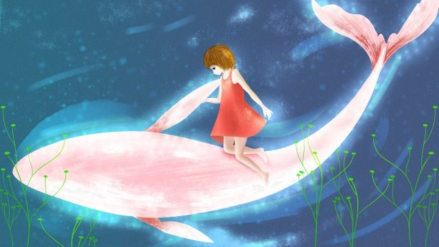 people and animals girl whale healing, Literary, Retro Texture, Cartoon illustration image
