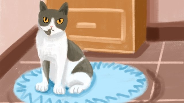 chat mignon chat bleu image d'illustration