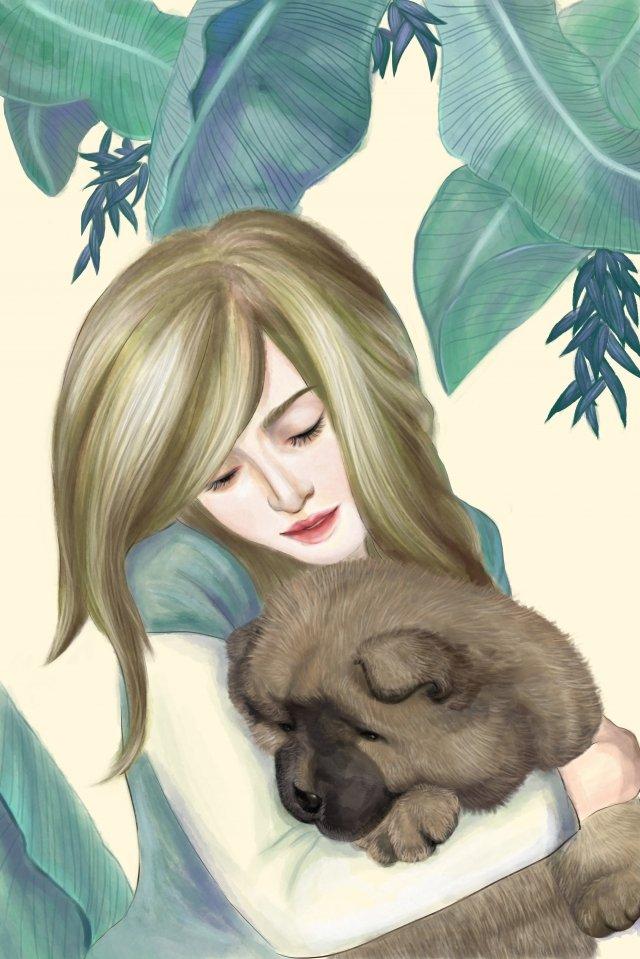 पालतू प्यारा पालतू जानवर चाउ चाउ बच्चे को गले लगाते हुए चित्रण छवि