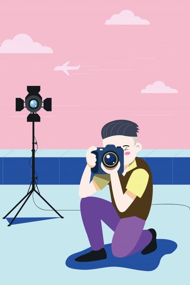 カメラマンキャリア屋上写真を撮る イラスト素材 イラスト画像