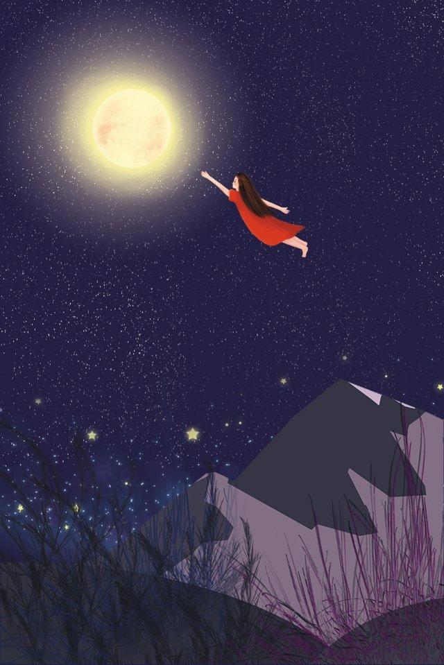 星空の背景美しい真夏の夜 星空の写真 月光の背景 日本の背景 星空の背景 星空のテーマ 女の子の背景 真夏の夜の画像 星の背景星空の写真  月光の背景  日本の背景 PNGおよびPSD illustration image