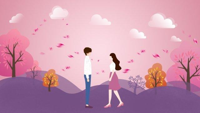 ピンクのロマンチックな紫色の少年 イラスト素材 イラスト画像
