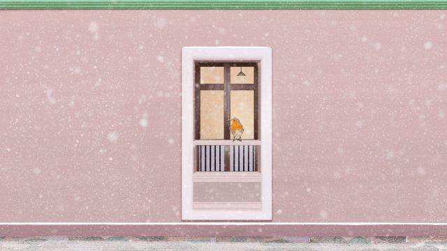 pink window snow scene heavy snow llustration image