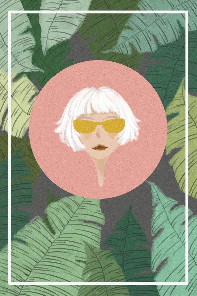 plant leaves girl avatar llustration image illustration image