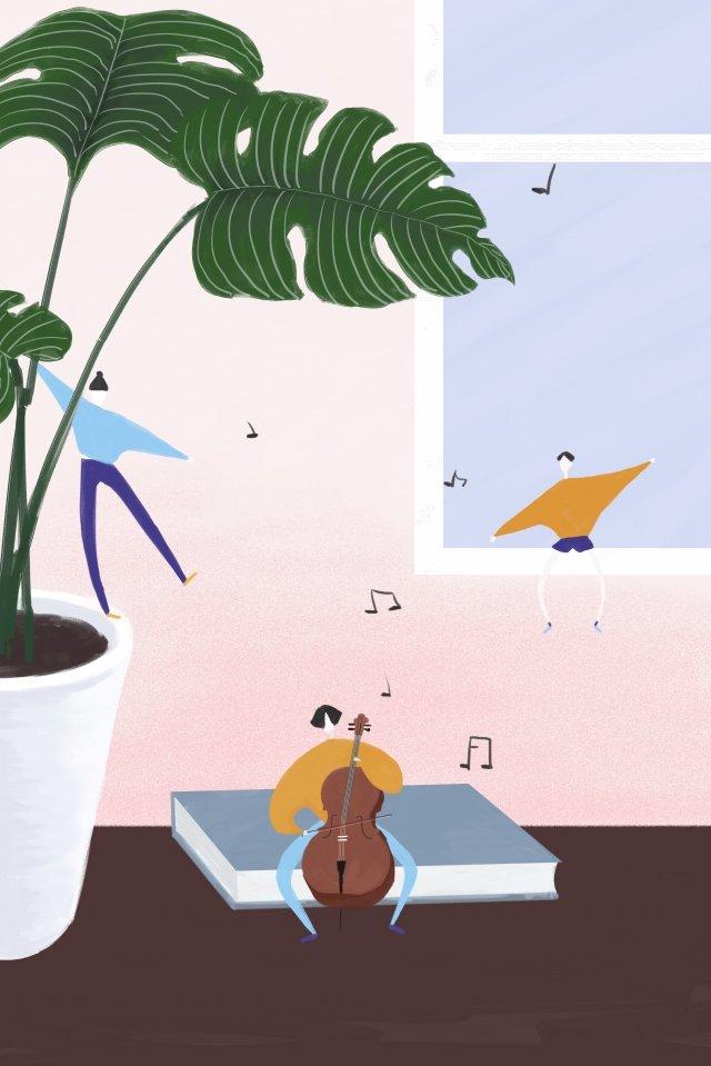 植物樂器音樂人物 插畫素材