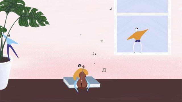植物樂器音樂人物 插畫素材 插畫圖片