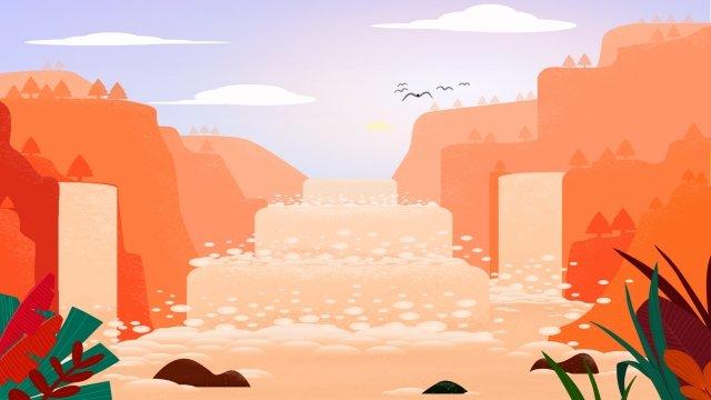 식물 나무 멀리 산 풍경 그림 삽화 소재 삽화 이미지