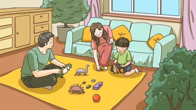 playing with toys accompany parent child parents llustration image