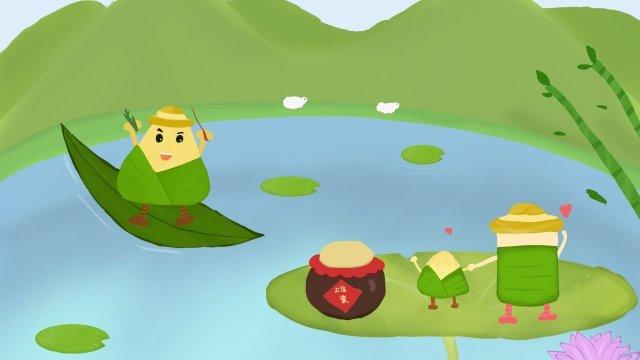 池風景ドラゴンボートフェスティバルzongzi イラスト素材