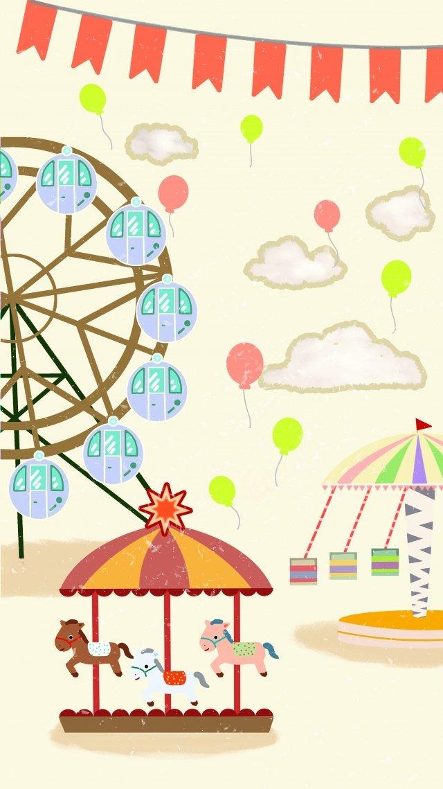 poster amusement park ferris wheel carousel illustration image