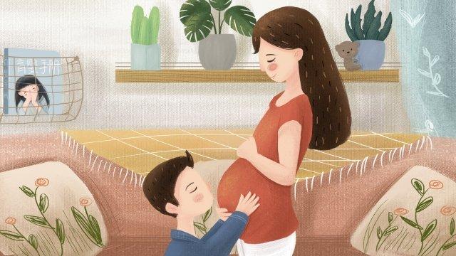 孕婦夫婦字符植物 插畫素材 插畫圖片