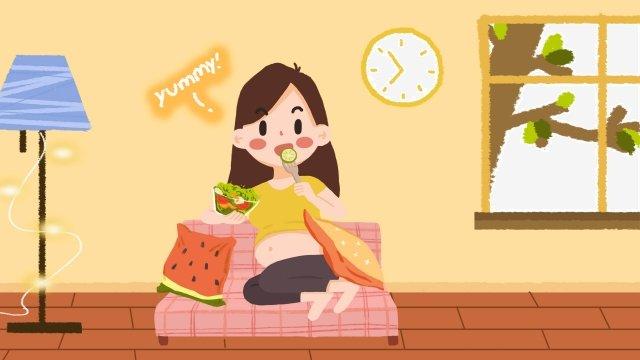 孕婦飲食懷孕嬰兒健康 插畫素材 插畫圖片