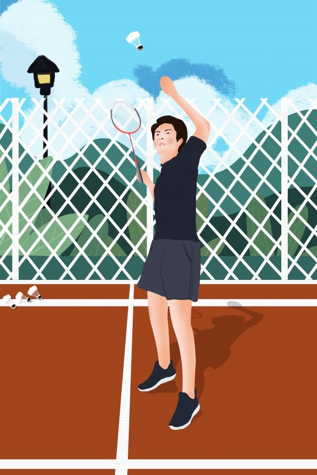 professional character badminton athlete racket illustration image