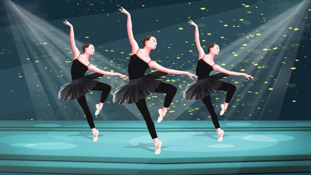professional character ballet dancer dancing people llustration image