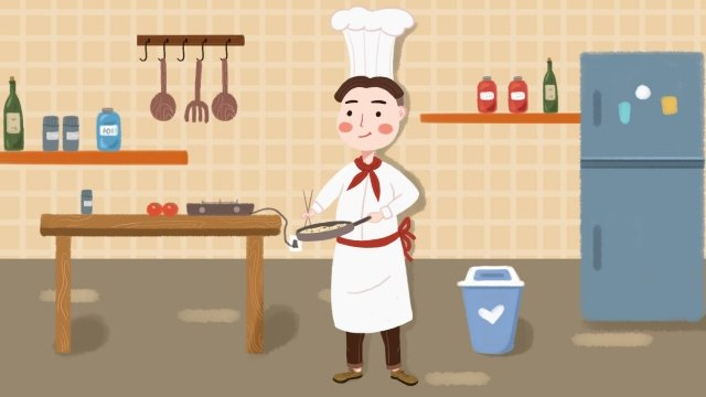 professional character jobs chef pan llustration image