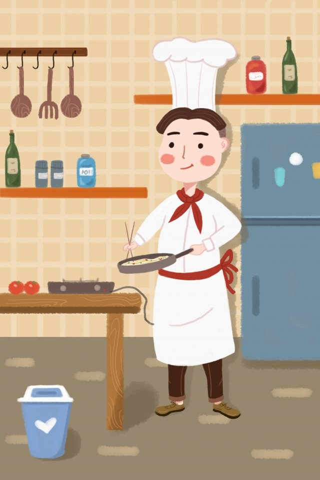 professional character jobs chef pan illustration image